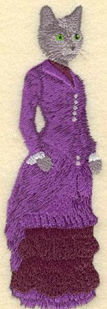 Embroidery Design: Female Cat in Purple Gown1.71w X 5.49h