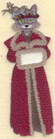 Embroidery Design: Female Cat in Maroon with Fur Gown1.90w X 5.41h