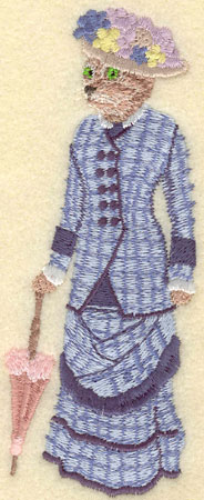 Embroidery Design: Female Cat in Blue Plaid Gown 2.15w X 5.42h