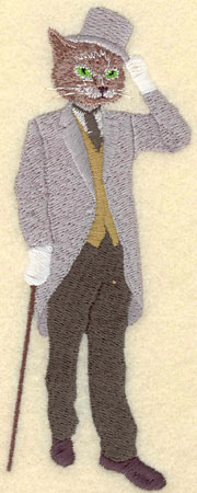 Embroidery Design: Male Cat in Top Hat with Walking Stick2.02w X 5.46h