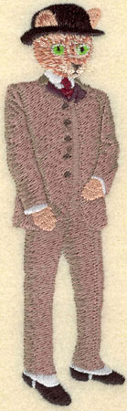 Embroidery Design: Male Cat in Derby Hat1.71w X 5.45h