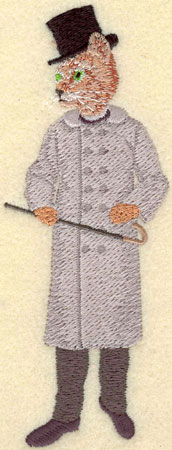 Embroidery Design: Male Cat in Black Top Hat2.07w X 5.20h