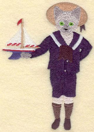 Embroidery Design: Boy Cat3.22w X 4.54h