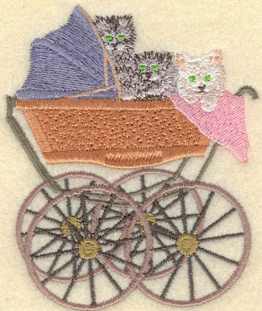 Embroidery Design: Kittens in Baby Carriage3.16w X 3.78h