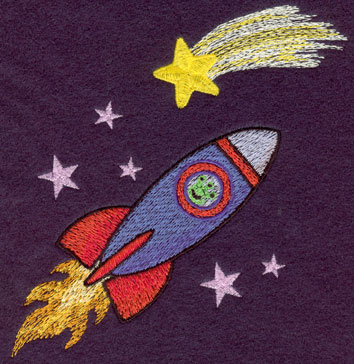 Embroidery Design: Rocket In Stars4.37w X 5.24h