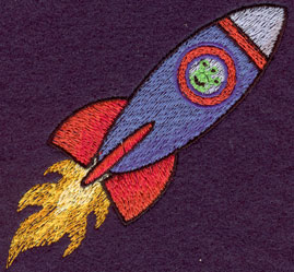 Embroidery Design: Flying Rocket Small3.54w X 3.53h