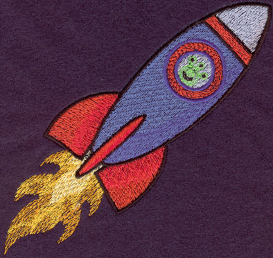 Embroidery Design: Flying Rocket Large5.30w X 5.30h