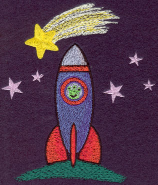 Embroidery Design: Rocket Ship with Stars4.30w X 5.05