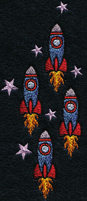 Embroidery Design: Vertical Rocket Ships Small2.25w X 5.48h