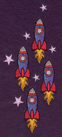 Embroidery Design: Vertical Rocket Ships Large3.06w X 7.48h