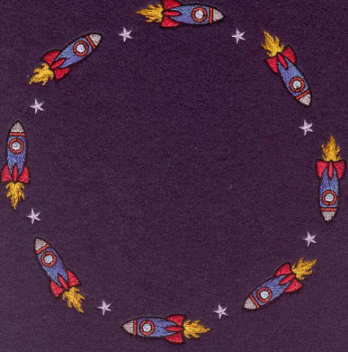 Embroidery Design: Rocket Ships Circle7.50w X 7.50h