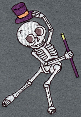 Embroidery Design: Skeleton Small Dancing Top Hat & Cane3.52w X 5.18h