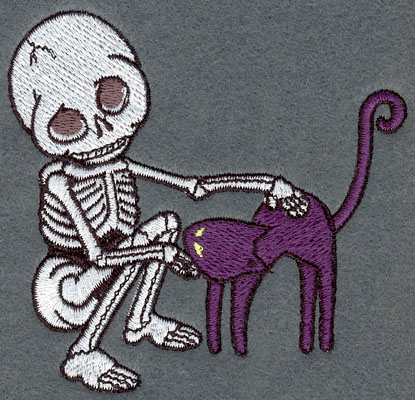 Embroidery Design: Skeleton Small with Cat3.77w X 3.60h