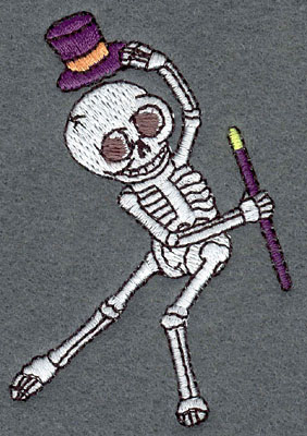 Embroidery Design: Skeleton Mini Dancing Top Hat & Cane2.10w X 3.09h