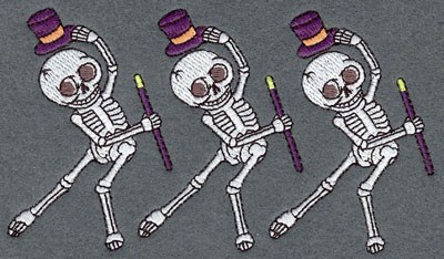 Embroidery Design: Skeleton Row Mini Dancing Top Hat & Cane5.48w X 3.09h