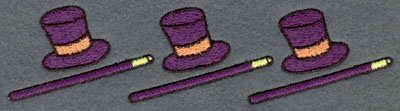 Embroidery Design: Top Hat and Canes Horizontal Row5.62w X 1.44h