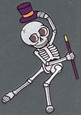 Embroidery Design: Skeleton Large Dancing Top Hat & Cane5.87w X 7.76h