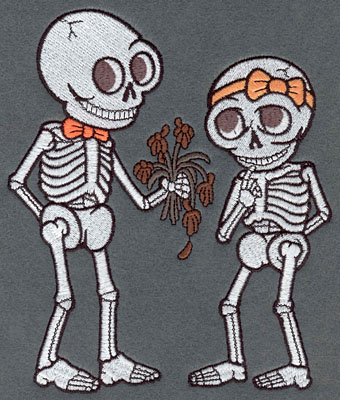 Embroidery Design: Skeleton Large Boy & Girl with Flowers5.84w X 6.83h