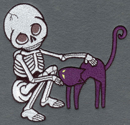 Embroidery Design: Skeleton Large with Cat5.65w X 5.40h