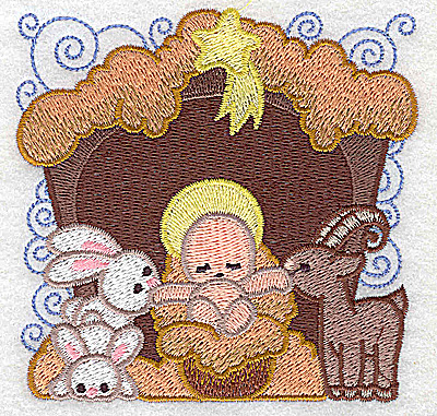 Embroidery Design: Nativity scene 5 small 3.79w X 3.71h