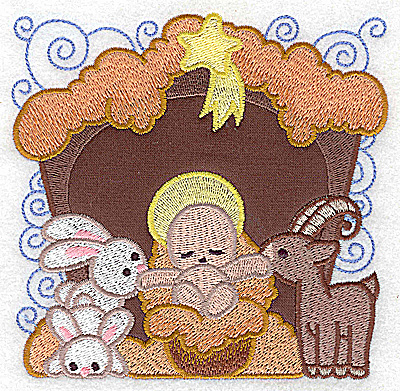 Embroidery Design: Nativity scene 5 large applique 4.84w x 4.75h