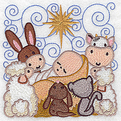 Embroidery Design: Nativity scene 8 large 4.85w X 4.85h