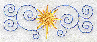 Embroidery Design: Christmas star with swirls 3.82w X 1.51h