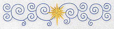 Embroidery Design: Christmas star with swirls large 6.93w X 1.51h