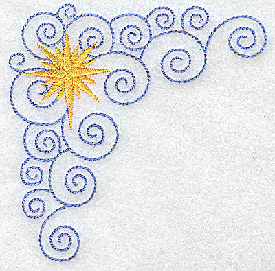 Embroidery Design: Christmas star with swirls corner small 3.82w X 3.82h