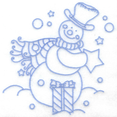 Embroidery Design: Snowman with gifts large 6.34w X 6.41h