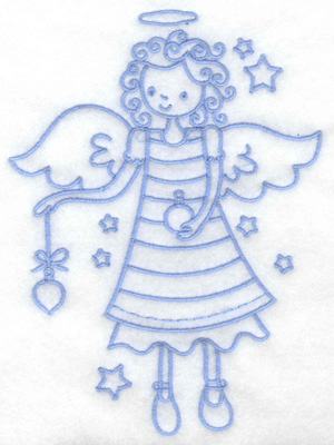 Embroidery Design: Angel holding ornament large 4.75w X 6.47h