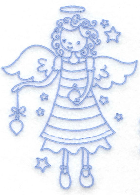 Embroidery Design: Angel holding ornament medium 3.65w X 4.98h