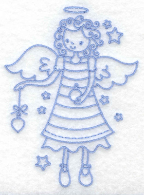 Embroidery Design: Angel holding ornament small 2.85w X 3.88h