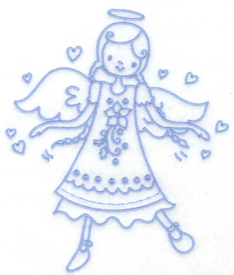 Embroidery Design: Angel in poinsettia dress large 5.47w X 6.43h