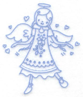 Embroidery Design: Angel in poinsetta dress medium 4.31w X 4.95h
