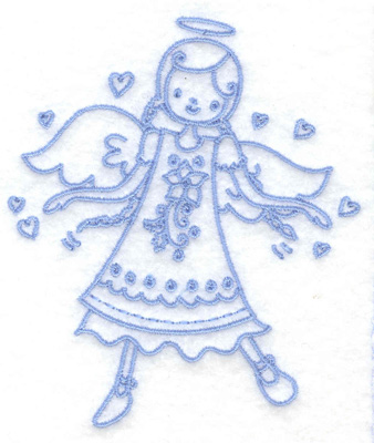 Embroidery Design: Angel in poinsetta dress small 3.29w X 3.86h