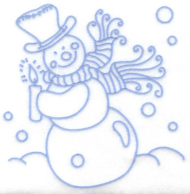Embroidery Design: Snowman holding candle large 6.28w X 6.41h