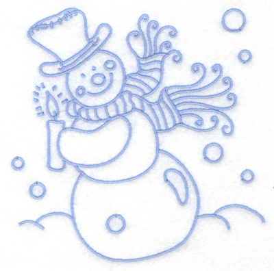 Embroidery Design: Snowman holding candle medium 4.83w X 4.93h