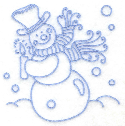 Embroidery Design: Snowman holding candle small 3.78w X 3.86h