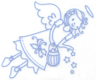 Embroidery Design: Flying angel with stars large 6.43w X 5.43h
