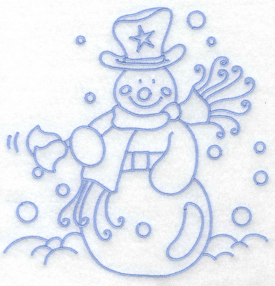 Embroidery Design: Snowman ringing bells large 6.31w X 6.45h