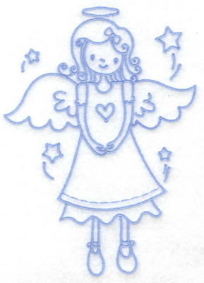 Embroidery Design: Angel with heart large 4.65w X 6.47h