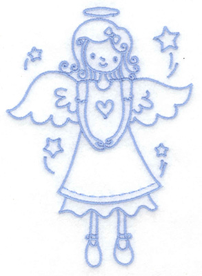 Embroidery Design: Angel with heart medium 3.57w X 4.98h
