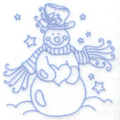 Embroidery Design: Snowman holding heart medium 4.91w X 4.96h