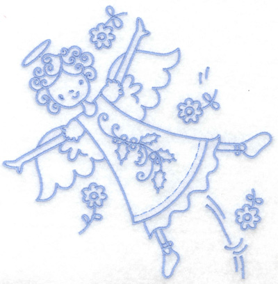 Embroidery Design: Angel in flight large 6.35w X 6.42h
