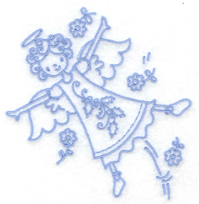 Embroidery Design: Angel in flight small 3.82w X 3.86h