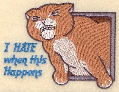 Embroidery Design: Cat stuck in pet door3.90w X 2.98h