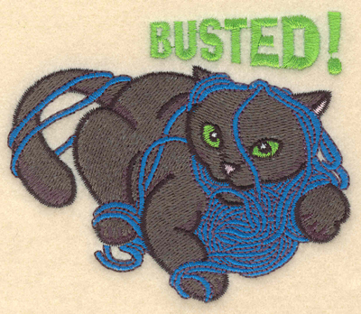 Embroidery Design: Busted cat with yarn3.90w X 3.27h