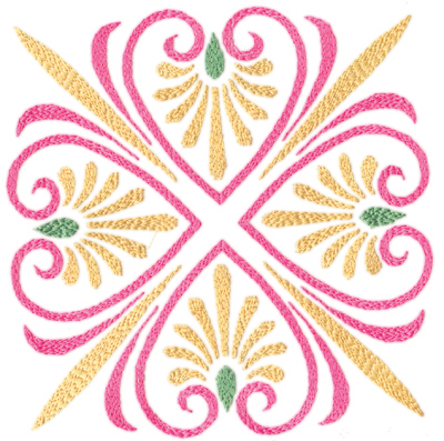 "Embroidery Design: Elegant Hearts (large)6.70"" x 6.68"""