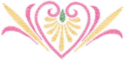 "Embroidery Design: Elegant Heart (small)4.08"" x 1.98"""